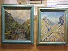 A Pair of H.J.F. Hunter Landscapes, oil on canvas and on board, 50 x 40cm, framed