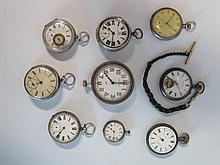 Eight Silver and other pocket watches and travel clock