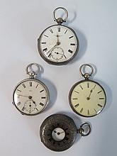 Four Silver Cased Pocket Watches