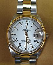 A Rolex Oyster Perpetual Date Gent's Watch with steel and gold plated case and with insurance certif