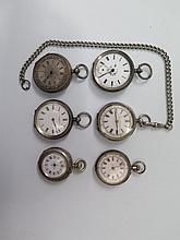 Six Silver Cased Pocket Watches
