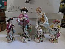 Four Sitzendorf Porcelain Figures