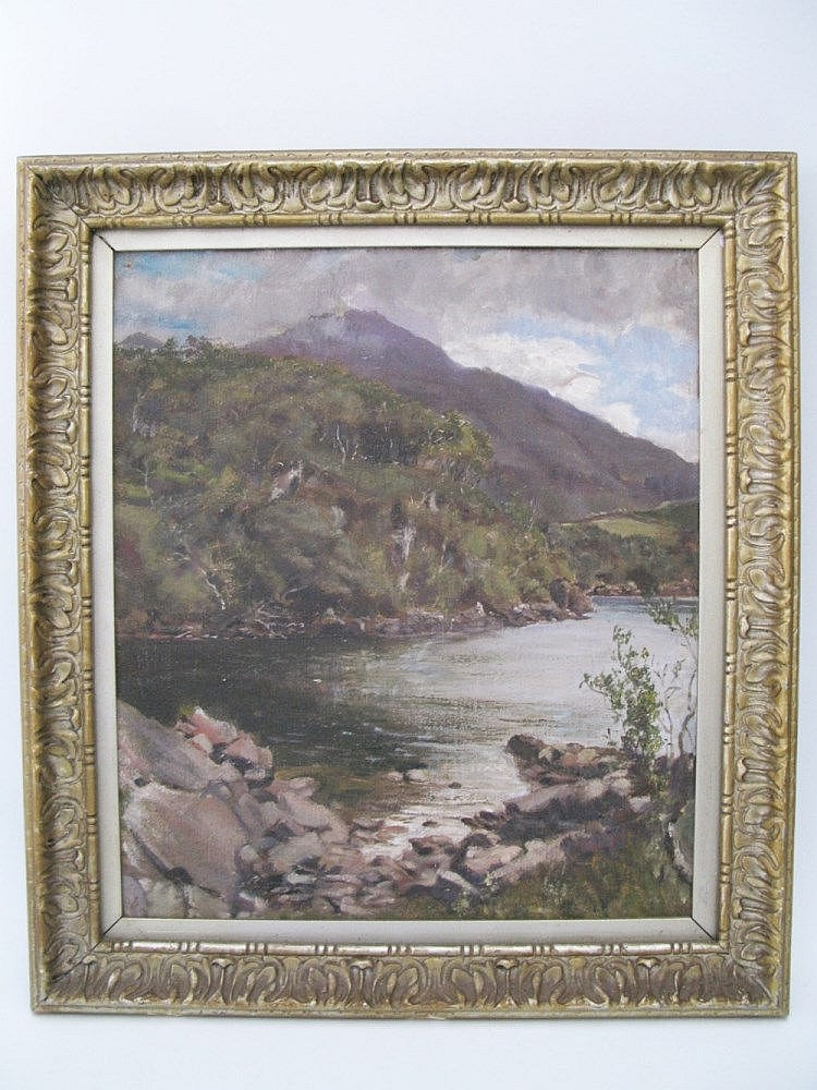 Attrb. Sam Pope, Lake Scene, oil on canvas, 38 x