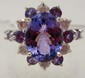 14K WHITE GOLD TANZANITE & DIAMOND RING - SZ. 7