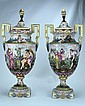 CAPODIMONTE Pair of tall Italian porcelain urns