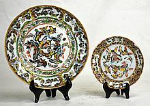 Two Chinese Famille Rose Dishes with Butterfly