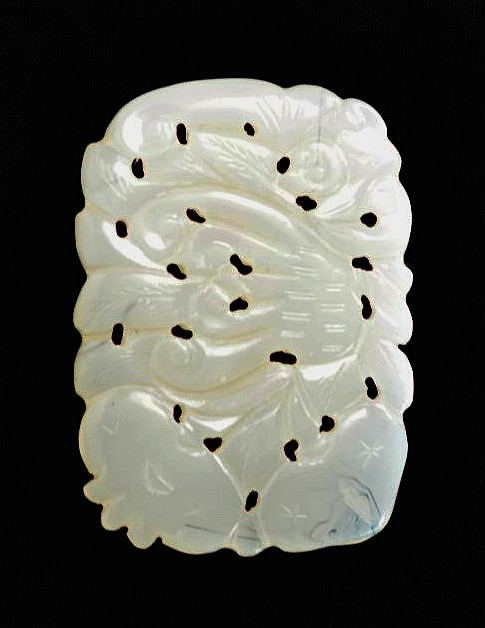 Chinese White Jade Carving of Plants
