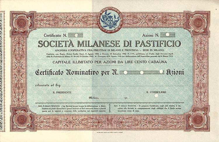 Società Milanese di Pastificio - Anonima Cooperativa fra Prestinai di Milano e provincia