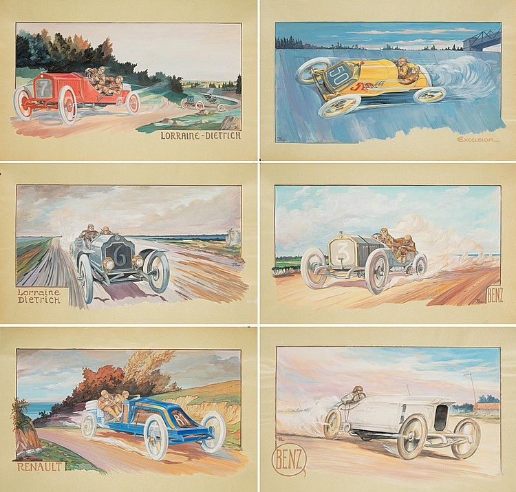 12 Early Automobile Designs. ca. 1907
