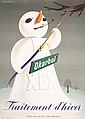 Original 1940s Swiss Design Poster DONALD BRUN Snowman
