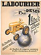 Original 1940s French Diesel Tractor Advertising Poster