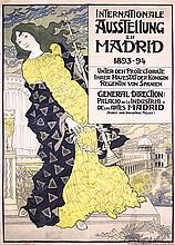 Rare Old 1890s Madrid Art Industry Expo Poster GRASSET