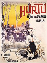 Original French Turn of Century Auto Bicycle Poster