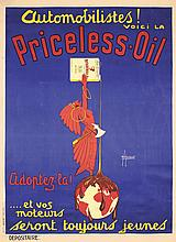 Old Original 1920s French Priceless Oil Indian Poster