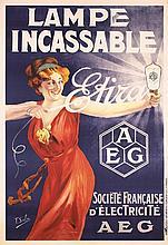 RARE Original 1910s French AEG Lamp Light Bulb Poster