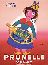 Large Original 1950s French Wine Poster Prunelle Velay