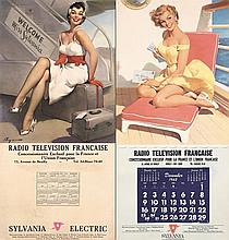 2 Old 1950s/60s French Radio Pin Up Posters SYLVANIA