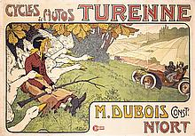 RARE 1890s Original French Bicycle Auto Poster TURENNE