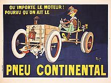 RARE Original 1900s MICH French Continental Tire Poster
