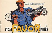Old Original 1930s Favor Bicycles Motorcycles Poster