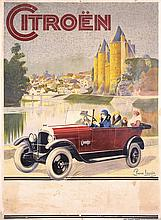 Original 1920s French Citroen Automobile Poster LOUYS