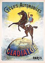 Beautiful Original 1900s French Gladiator Bicycle Poster JOCKEY