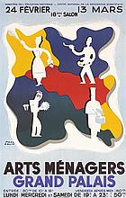 Original 1940s French Arts Menagers Art Poster COLIN