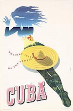 RARE Original 1950s Cuba Travel Poster SEYLER Art