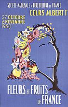 2 Old Original 1950s French Flower Fruit Expo Posters