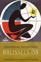 Old 1950s Brussels World's Fair Sabena Travel Poster