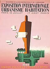 Huge Old RARE 1940s PAUL COLIN Poster Expo Habitation