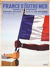 LARGE OLD 1940s PAUL COLIN Poster France D'Outre Mer