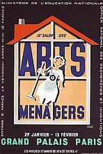 RARE Original 1930s Arts Menagers Poster BERNARD Design