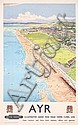 Old Original 1940s Ayr British Rail Beach Travel Poster