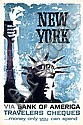 Old 1960s New York Bank Travel Poster Liberty Statue