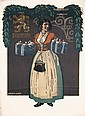 Original 1910 Munich Loewenbrau Beer Poster Woman