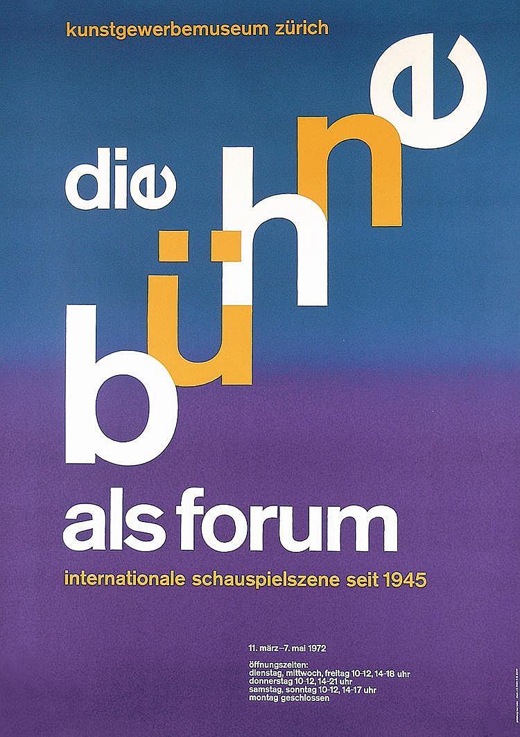 Original 19660s MAX HUBER Swiss Graphic Design Poster
