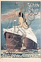 RARE Original 1910s White Star Line Travel Poster BLACK