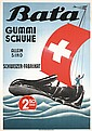 Original 1940s Bata Shoe Swiss Advertising Poster