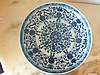 Chinese Blue & White Bowl Decorated With Blue Flowers On Both Sides. 4cm Height 20cm Width. Marks ToBase