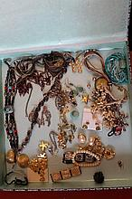 Box Of Costume Jewellery Including Rings,  Nec
