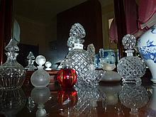 Assortment Of Crystal Decanter & Perfume Bottles