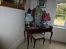 Cedar Three Drawer Dressing Table With Stool