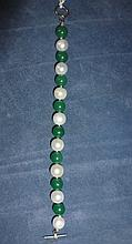 Chinese Jade And Pearl Bracelet