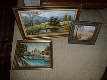 Three Oil Paintings Including Landscape