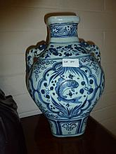 Chinese Blue And White Porcelain Doubled Handled