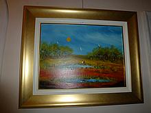 Nick Petali oil on board, Moonlight, signed
