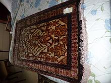 Rug, hand made Qum (inlaid silk, fine weave),