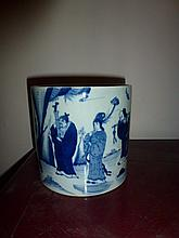 Chinese Blue And White Brush Pot Decorated With