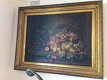 Large Still Life Of Fruit On Canvas In Large Gilt